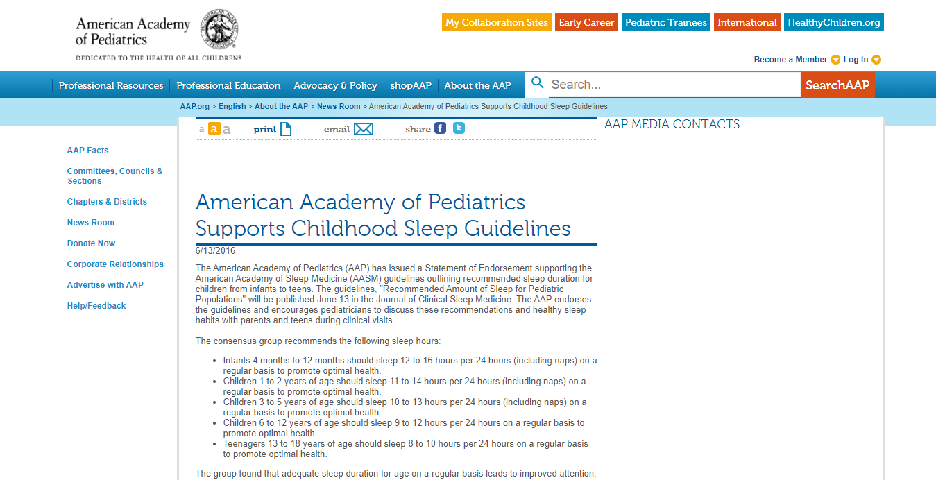 Bedtimes for kids AAP supports AASM Childhood Sleep Guidelines