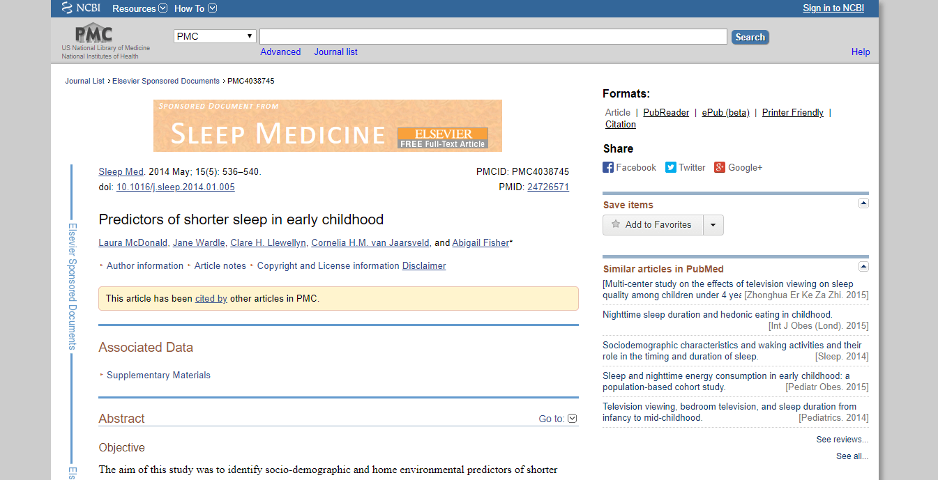 study of predictors of shorter sleep in early childhood