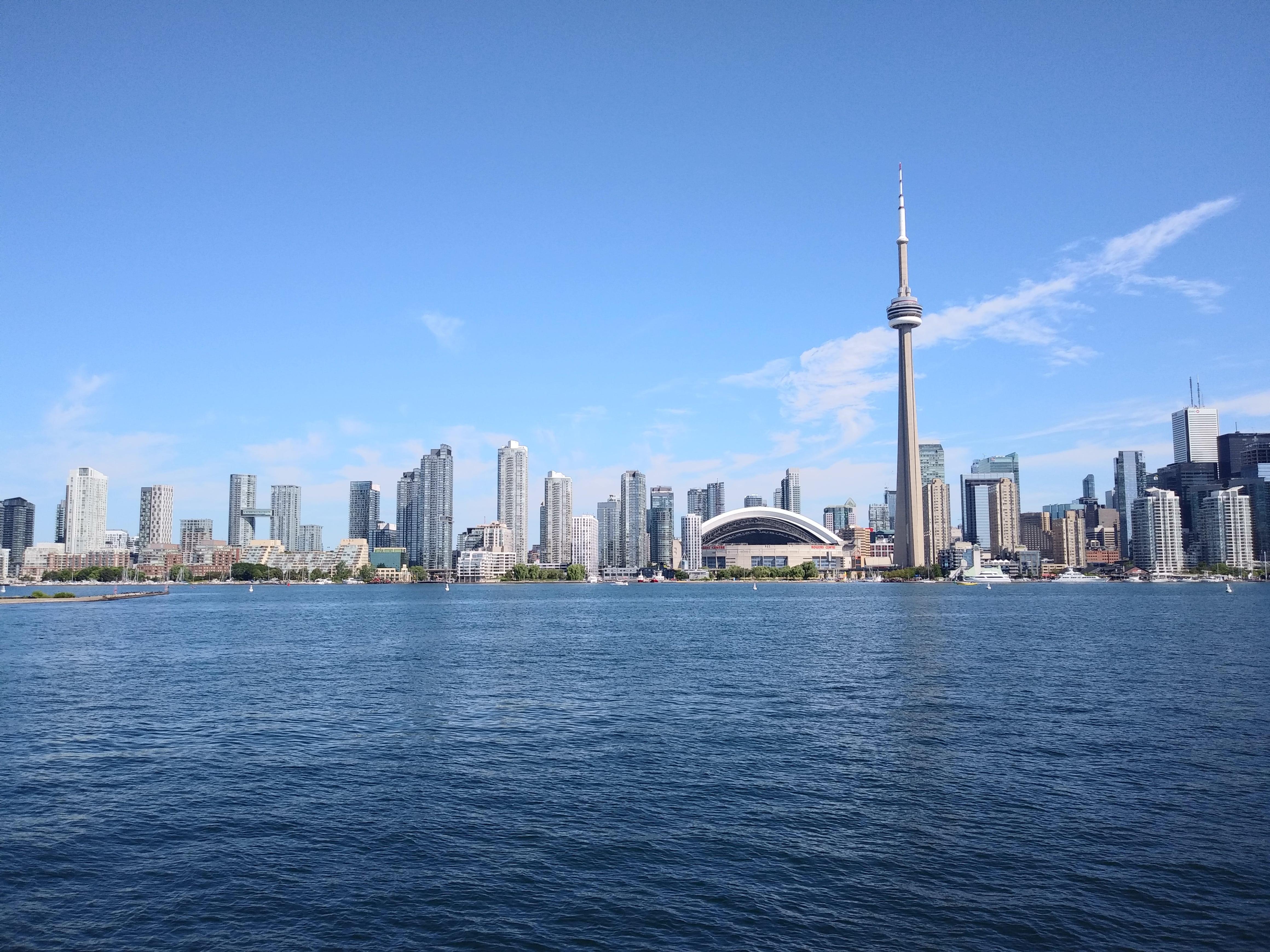 Toronto view of CN tower from Lake Ontario