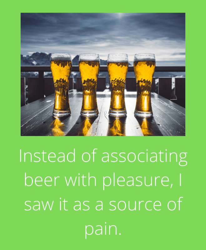Associating beer with pain