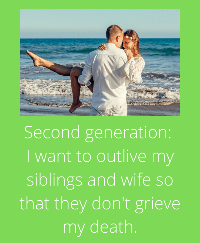 Second generation I want to outlive my siblings and wife