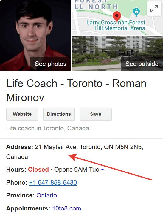 google maps life coach canada confirmed address