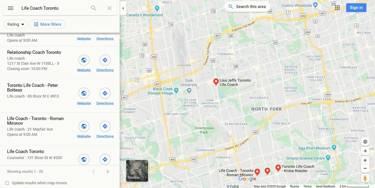 google maps life coach near you
