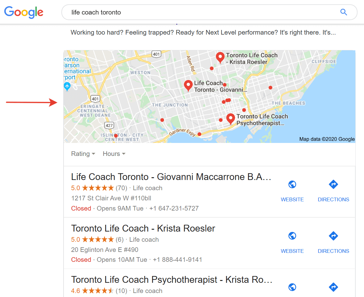 google search results map